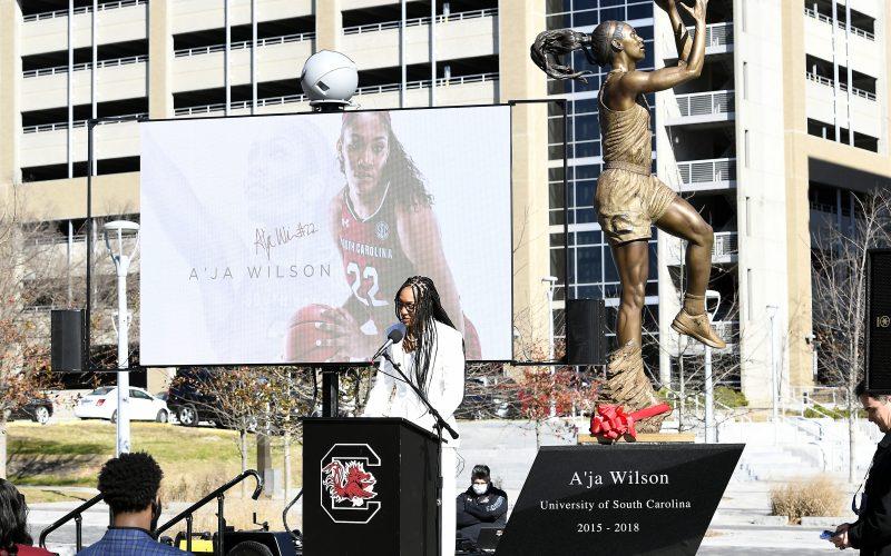 A'ja Wilson 2021, A'ja Wilson Gamecocks Statue, A'ja Wilson South Carolina Statue, A'ja Wilson South Carolina Statue Ceremony, A'ja Wilson State Ceremony, A'ja Wilson Statue