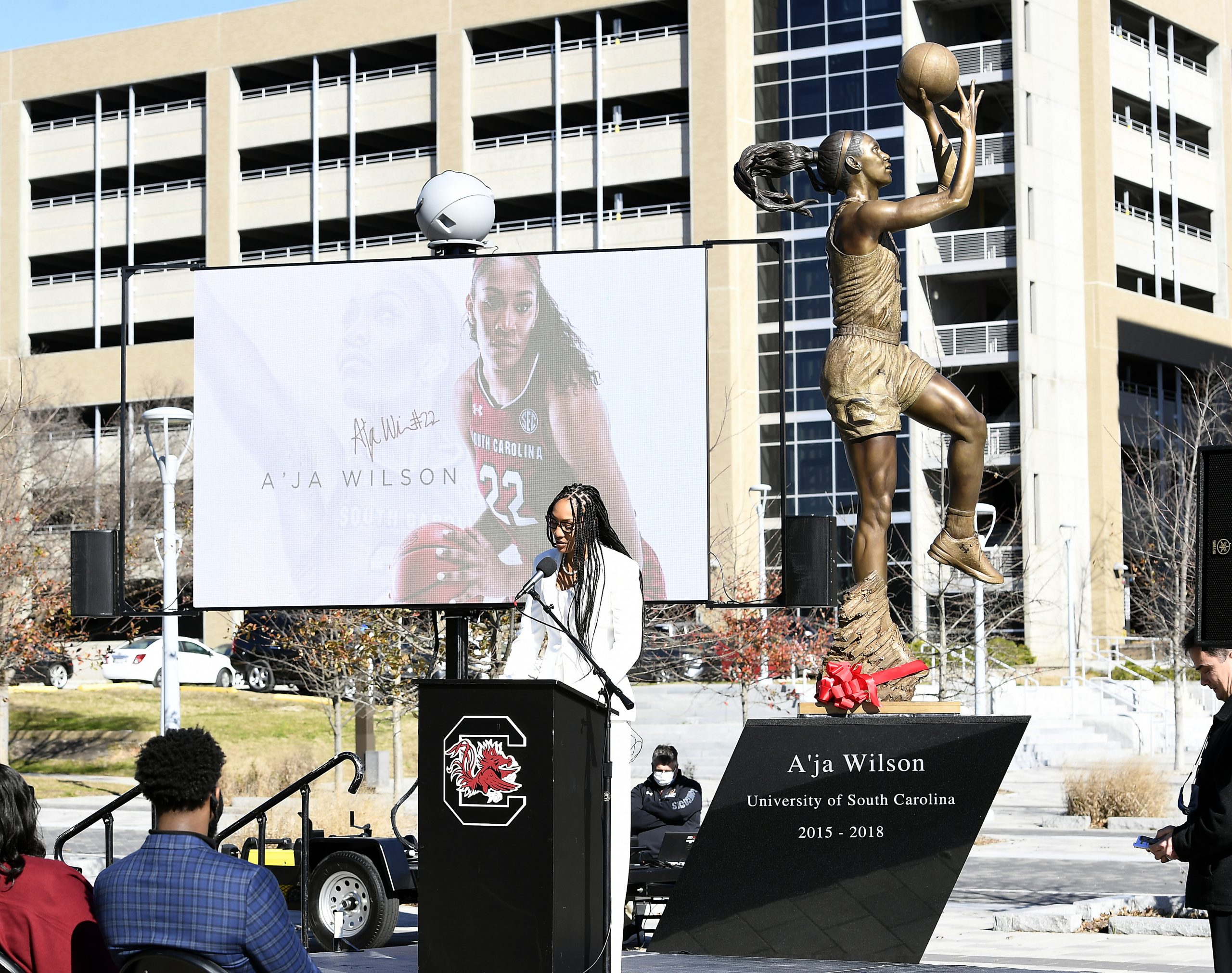 A'ja Wilson 2021, A'ja Wilson Gamecocks Statue, A'ja Wilson South Carolina Statue, A'ja Wilson South Carolina Statue Ceremony, A'ja Wilson State Ceremony, A'ja Wilson Statue