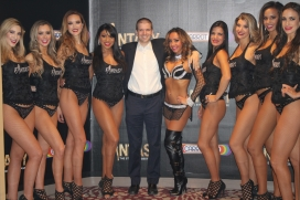 With the women of the Las Vegas show Fantasy at the Luxor Hotel and Casino