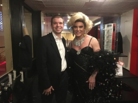 With Las Vegas entertainment legend, female impersonator Frank Marino as Joan Rivers at Legends in Concert on the Las Vegas Strip