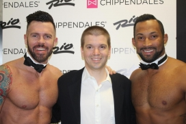 With Ryan Kelsey and Jayson Michael of the Las Vegas Show Chippendales at the Rio All-Suites Hotel and Casino