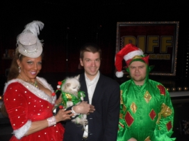 With Jade Simone, Mr. Piffles and Piff The Magic Dragon at their show at the Flamingo Hotel and Casino in Las Vegas