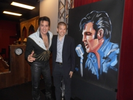 With Elvis Impersonator Steve Connolly at his show Spirit of the King at Four Queens