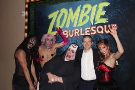 With cast members of the Las Vegas Show Zombie Burlesque at the Planet Hollywood Hotel and Casino